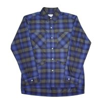 yotsuba - Cotton & Rayon Shadow Check Shirt [Blue]