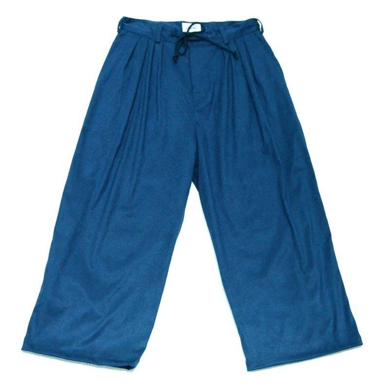 画像1: yotsuba - Fakesuede 4tuck Wide Pants [Blue]